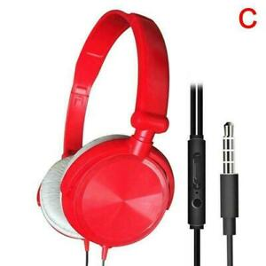 Wired Headphones Over Ear Headsets Bass Stereo Earphone Microphone New With Z6L9