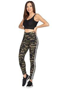 Womens Full Length Moro Leggings High Waisted Sport Stripe Slimming Pants FS7776