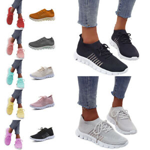 WOMENS LADIES LACE UP SPORT GYM TRAINERS RUNNING SNEAKERS KNIT WOMEN SHOES SIZE