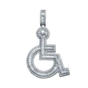 Men's Sterling Silver Handicapped Sign Hip Hop Pendant w/ Micro Pave CZ Stones