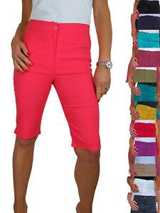 Womens Short Pedal Pushers High Waist Skinny Knee Length Cycle Shorts 10-18