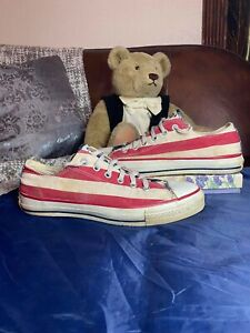 Vintage 80s Made In USA Converse American Flag Shoes Chuck Taylors Mens 8