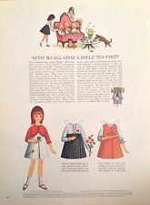 Vintage Betsy McCall Mag. Paper Doll, Betsy Gives a Dolls Tea Party, Nov. 1965