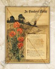 IN FLANDERS' FIELDS POEM WWI WORLD WAR 1 MILITARY ART PRINT REMEMBRANCE MCCRAE