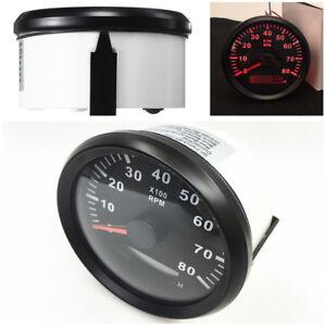 Waterproof Marine Tachometer Gauge Hour Meter 0-8000 RPM 85mm Install Diameter