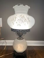 Vintage Gone W/ The Wind Style White Glass Floral Parlor Lamp 20.5""