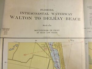 US Coast & Geodetic Survey Chart  Florida Intracoastal Waterway Delray Bch 1954