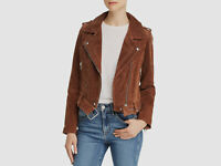 New $473 Blanknyc Women Brown Suede Leather Zip-Front Casual Moto Jacket Size XS