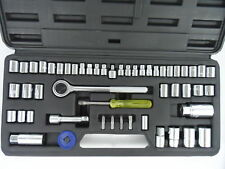 52pc Ratchet & Socket Set SAE Metric 1/4