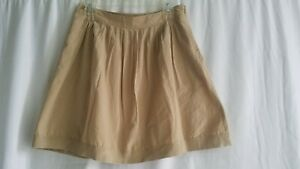 Banana Republic Cotton Above Knee Tan Beige Skirt Lined Size 4 Pockets Pleated