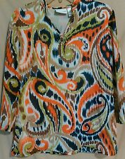 Alfred Dunner top blouse size 10 sheer with lining embellish v-neck 3/4 sleeve