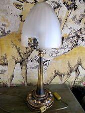 lampe de bureau champignon vintage art déco bronze et pâte de verre 52 cm