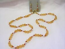 """28"""" HAND KNOTTED CITRINE & MOTHER OF PEARL & COPPER BEADED NECKLACE EARRING SET"""
