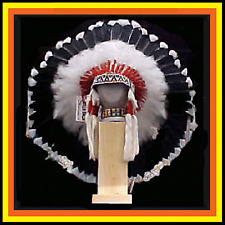 "Genuine Native American Navajo 36"" Indian Headdress SHADOW WARRIOR Black & White"