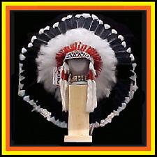 "Genuine Native American Navajo 36"" Indian Headdress SHADOW WARRIOR Black & White"