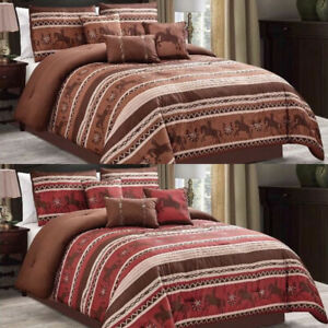 Luxury South Western Pattern Rodeo Horse Rustic Star Comforter Set - 7 Piece Set