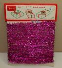 "Vintage Christmas SEARS FUCHSIA Hot Pink NARROW Tinsel Garland 27 Ft 3/8"" Wide"