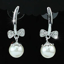 Pearl White Gold Plated Drop/Dangle Costume Earrings