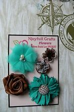 HANDMADE 5 Flower Mix - TEAL BLUE & BROWN Organza Satin 30-60mm NjoyfullCrafts