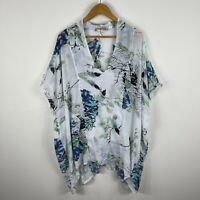 Missy Q Womens Dress L/XL Plus Multicoloured Floral Kaftan Flutter Short Sleeve