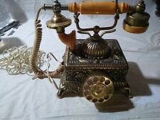 Rotary Dial Telephone Gold Retro Phone Antique Collector Vintage Style Works