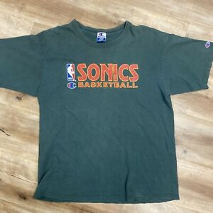 SEATTLE SUPERSONICS NBA BASKETBALL VINTAGE 90s CHAMPION SPELLOUT TSHIRT LARGE