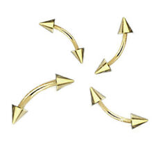 1 Gold Plated Curved  Eyebrow Barbell With Spikes 16g 14g - Length 8mm 10mm #G02
