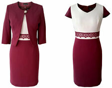 BERRY PURPLE IVORY MOTHER OF THE BRIDE GROOM OUTFIT 2 PIECE JACKET DRESS SIZE 16