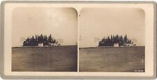 GRECE Greece Corfou Pontikonisi Photo Stereo Stereoview Argentique