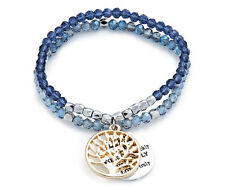 Double Strand Beaded Blue and Silver Engraved Charm Bracelet - Forgive Love Kiss
