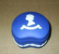 Wedgwood Jasperware Royal Blue Queen Bean Trinket Box
