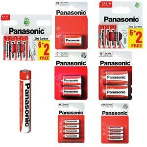 PANASONIC AA & AAA 9V C D Genuine Zinc Carbon Batteries battery 1.5V Expiry 2023