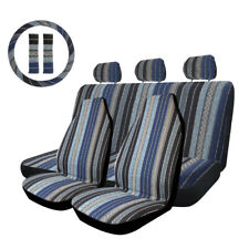 10pcs Blue Stripe Baja Saddle Blanket Car Seat Cover With Steering Wheel Cover