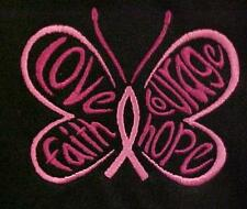Breast Cancer T Shirt S Black S/S Crew Neck Awareness Butterfly Centered New