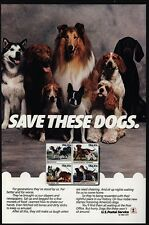 1984 Husky - Collie - French Bulldog - Cocker Spaniel Dog - Us Postal Vintage Ad