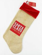 Hessian Stocking - Santa Claus is Coming to Town Christmas Red Velvet Presents
