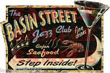WEATHERED BASIN STREET JAZZ CLUB BUILDING SIGN DECAL 3X2  MORE SIZES AVAIL