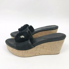 COACH womens 8.5 Wedge Sandals Shoes Jasmin Black Cork Slip On Slides