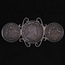 Australia Sterling Silver Sweetheart Coin Brooch WWI 1910 Threepence & Sixpence