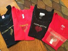 Corvette Ladies Custom Tank Tops in Rhindstones, NEW STYLES AND COLORS  Sizes