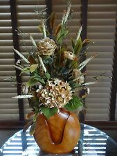 Silk Floral Flower Arrangement Beige Tan Brown Hydrangea and Ranunculus