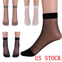3 Pairs Mens Thin Socks Silk See Through Sheer Over Ankle Stretchy Stockings 11""