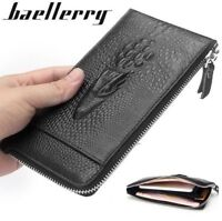 Men Genuine Leather Clutch Wallet Credit Card Zipper Slim Purse Checkbook New