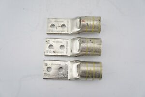 Pack of (3) BURNDY HYLUG YA44L2NT38FX YA-L-2TC-FX 2-Hole Compression Lug
