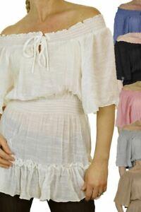 CLEARANCE Ladies Off Shoulder Elasticated Ruffle Short Sleeve Gypsy Top 8-18