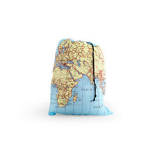 "Laundry Bag World Map Travel Size 16"" x 22"" Kikkerland Separate Old Cothes & New"
