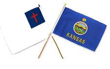 "12x18 12""x18"" Wholesale Combo Christ Christian State Kansas Stick Flag"