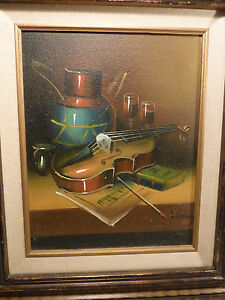 Colorful Framed 8 x 10 Signed L Habady Music Violin Art Colorful Oil on Canvas