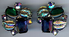 SCHIAPARELLI VINTAGE CARVED LEAVES & RHINESTONE GREEN BLUE GLASS CAB EARRINGS