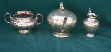 Dublin Irish Three Pieces 1840 Sterling Silver Tea Set   MAGNIFICENT